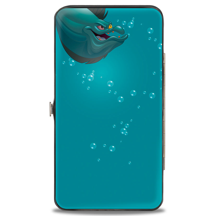 Hinged Wallet - Ursula Pose + Jetsam Face Bubbles Blues