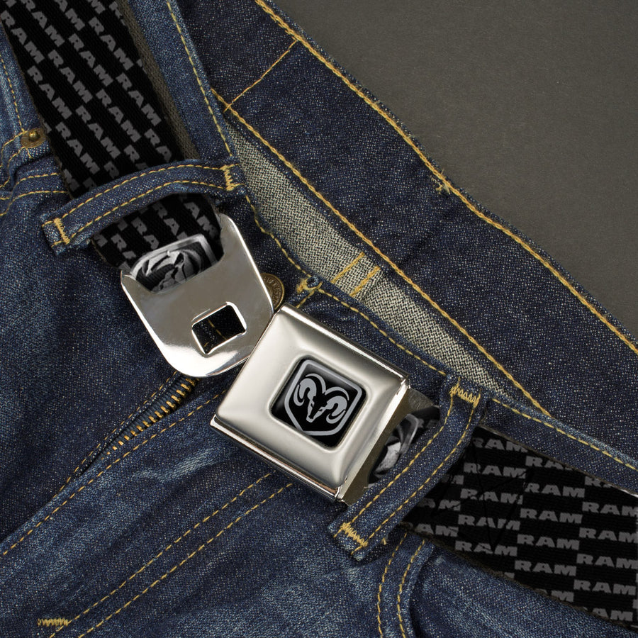 Ram Seatbelt Belt - Ram REPEAT w/Text Webbing
