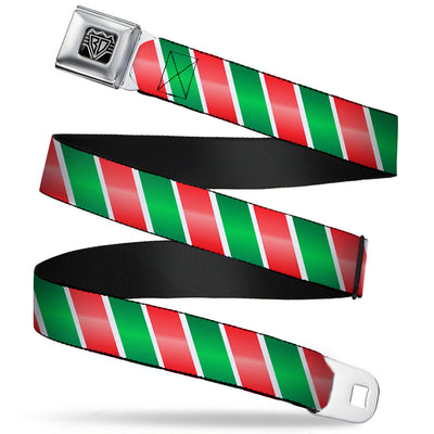 BD Wings Logo CLOSE-UP Full Color Black Silver Seatbelt Belt - Candy Cane4 White/Red/Green Webbing