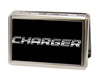 Business Card Holder - LARGE - CHARGER Text FCG Black Silver-Fade