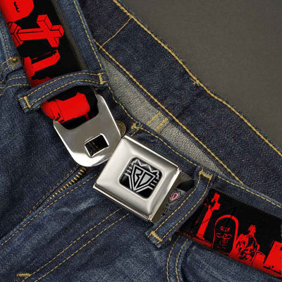 BD Wings Logo CLOSE-UP Full Color Black Silver Seatbelt Belt - Graveyard Black/Red Webbing