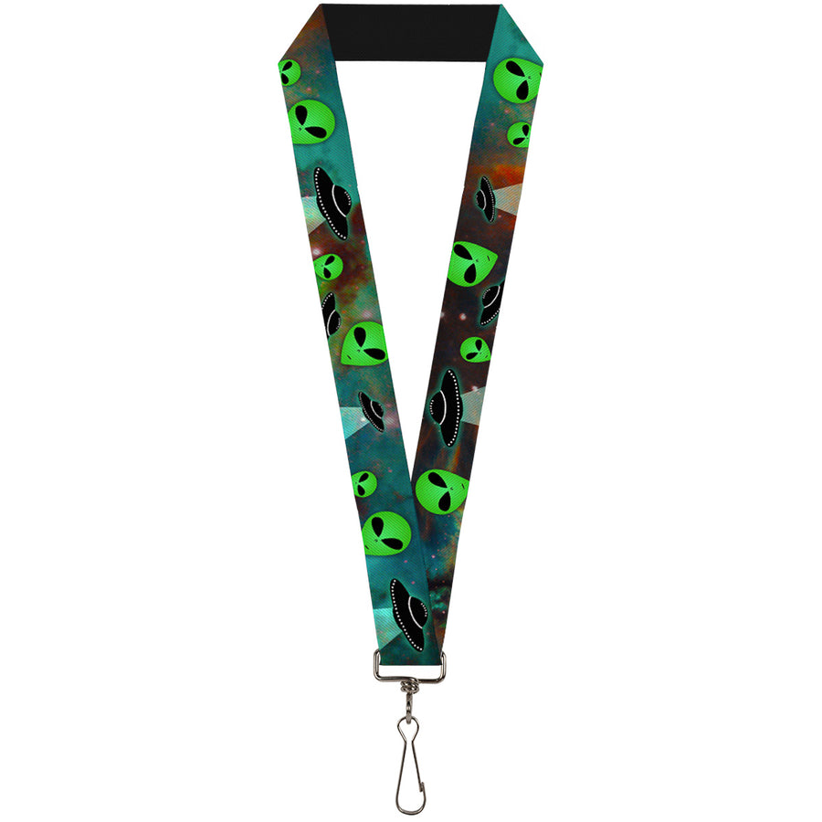 "Lanyard - 1.0"" - Aliens & UFO's Galaxy Green Black White"