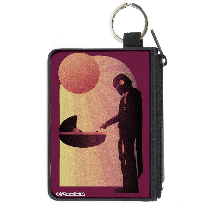 Canvas Zipper Wallet - MINI X-SMALL - Star Wars The Child and The Mandalorian Touching Fingers Sun Rays Burgundy Oranges