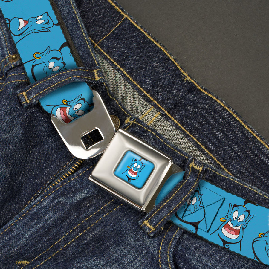 Classic Aladdin Genie Smiling Expression Full Color Blue Seatbelt Belt - Classic Aladdin Genie 4-Expressions Blues Webbing