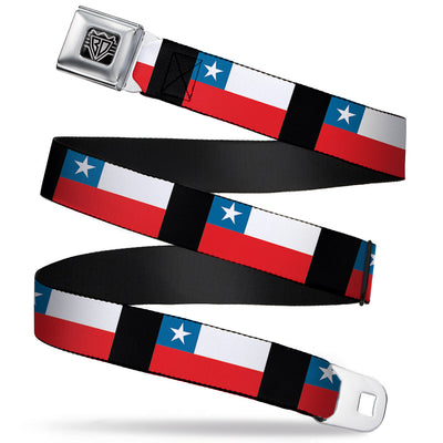 BD Wings Logo CLOSE-UP Full Color Black Silver Seatbelt Belt - Chile Flags Webbing