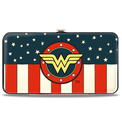 Hinged Wallet - WONDER WOMAN Logo Americana Red White Blue Yellow