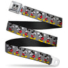 Mickey Mouse w Glasses Full Color Gray Seatbelt Belt - Mickey Mouse w/Glasses Poses Gray Webbing