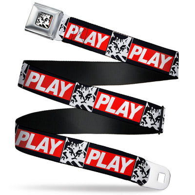 Keyboard Cat Face Monolith Full Color Black White Seatbelt Belt - Keyboard Cat Monolith PLAY Black/White/Red Webbing