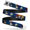 KINGDOM HEARTS Logo Full Color Black Silver Blue Fade Seatbelt Belt - Kingdom Hearts 6-Character Pose/Dark Blues Webbing
