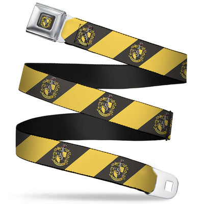 HUFFLEPUFF Crest Full Color Charcoal Gray Seatbelt Belt - HUFFLEPUFF Crest Diagonal Stripe Charcoal Gray/Yellow Webbing