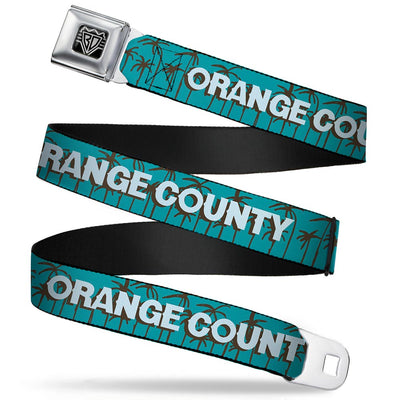 BD Wings Logo CLOSE-UP Full Color Black Silver Seatbelt Belt - ORANGE COUNTY/Palm Trees Blue/Brown/Light Blue Webbing