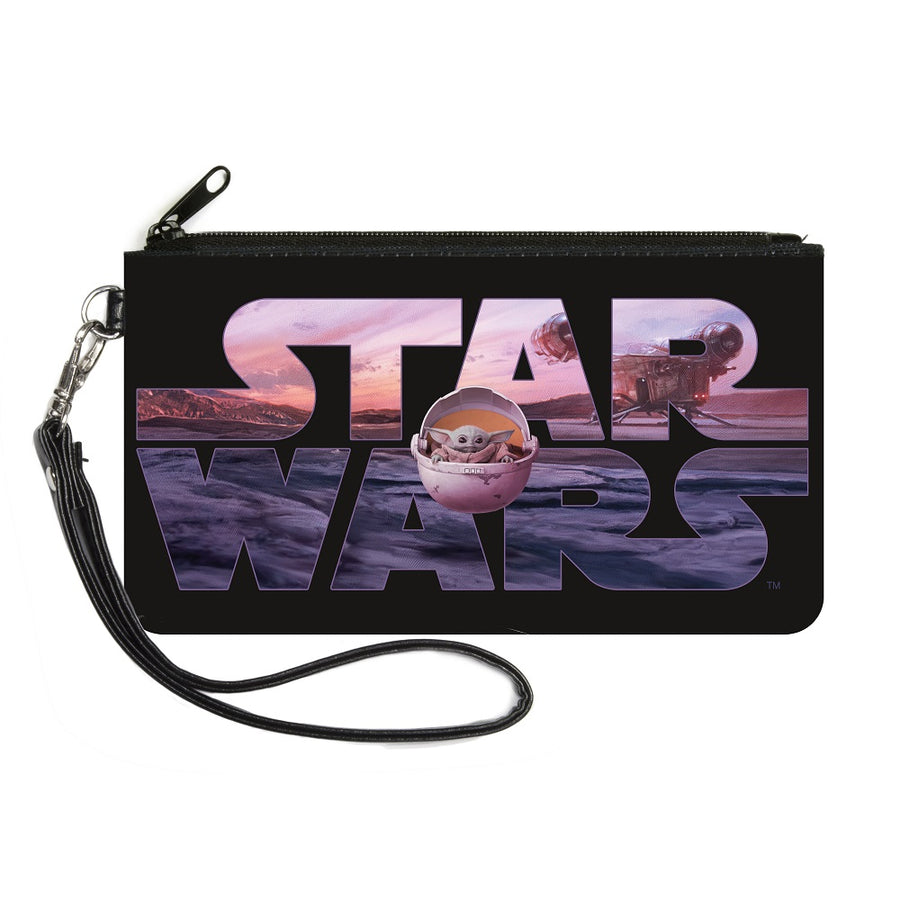 Canvas Zipper Wallet - SMALL - STAR WARS The Child Pod Pose Black Vivid Landscape