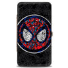 MARVEL COMICS Hinged Wallet - Stained Glass Spider-Man Face Signature Spider Webs Black Gray Blues Reds