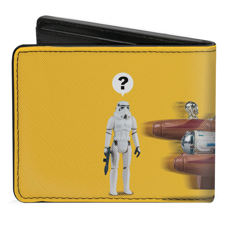 Bi-Fold Wallet - Star Wars Kenner Luke Skywalker Mos Eisley Landspeeder Group Action Figures Yellow