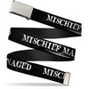 Chrome Buckle Web Belt - Harry Potter MISCHIEF MANAGED Black/White Webbing