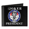 Canvas Bi-Fold Wallet - THE JOKER FOR PRESIDENT Seal Black White Blue Red