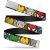 Chrome Buckle Web Belt - Kawaii Avengers Faces CLOSE-UP Camo Olive Webbing
