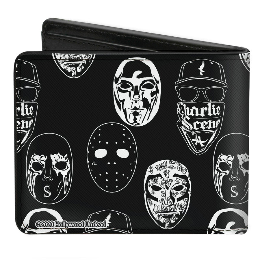 Bi-Fold Wallet - Hollywood Undead Mask Icons Scattered Black White