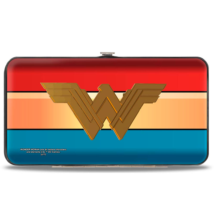 Hinged Wallet - Wonder Woman 2017 Icon Stripe Red Golds Blue