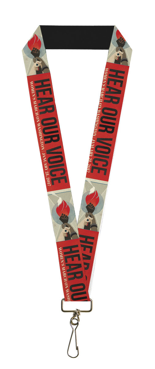"Lanyard - 1.0"" - HEAR OUR VOICE-WOMEN'S MARCH 2017 Unity Fist Torch Grays Blues Red Black White"