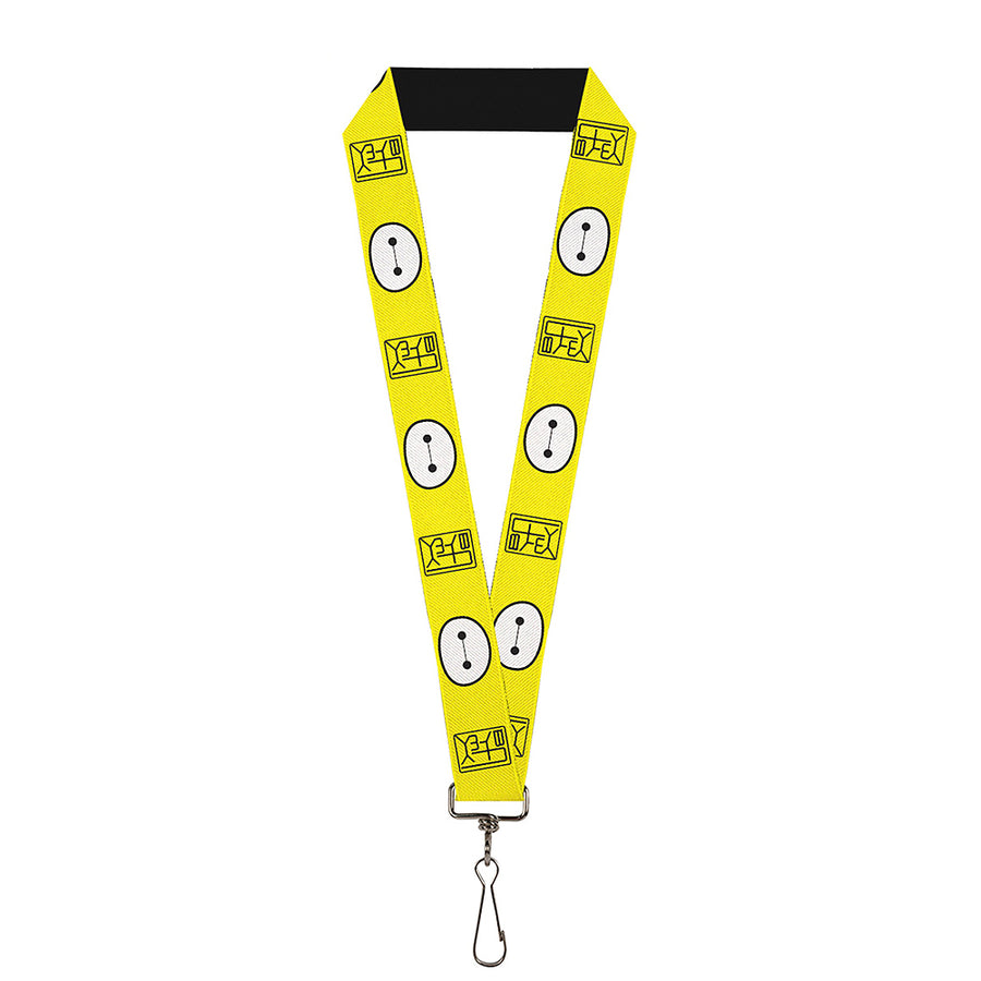 "Lanyard - 1.0"" - BAYMAX Hanko Face Yellow Black White"