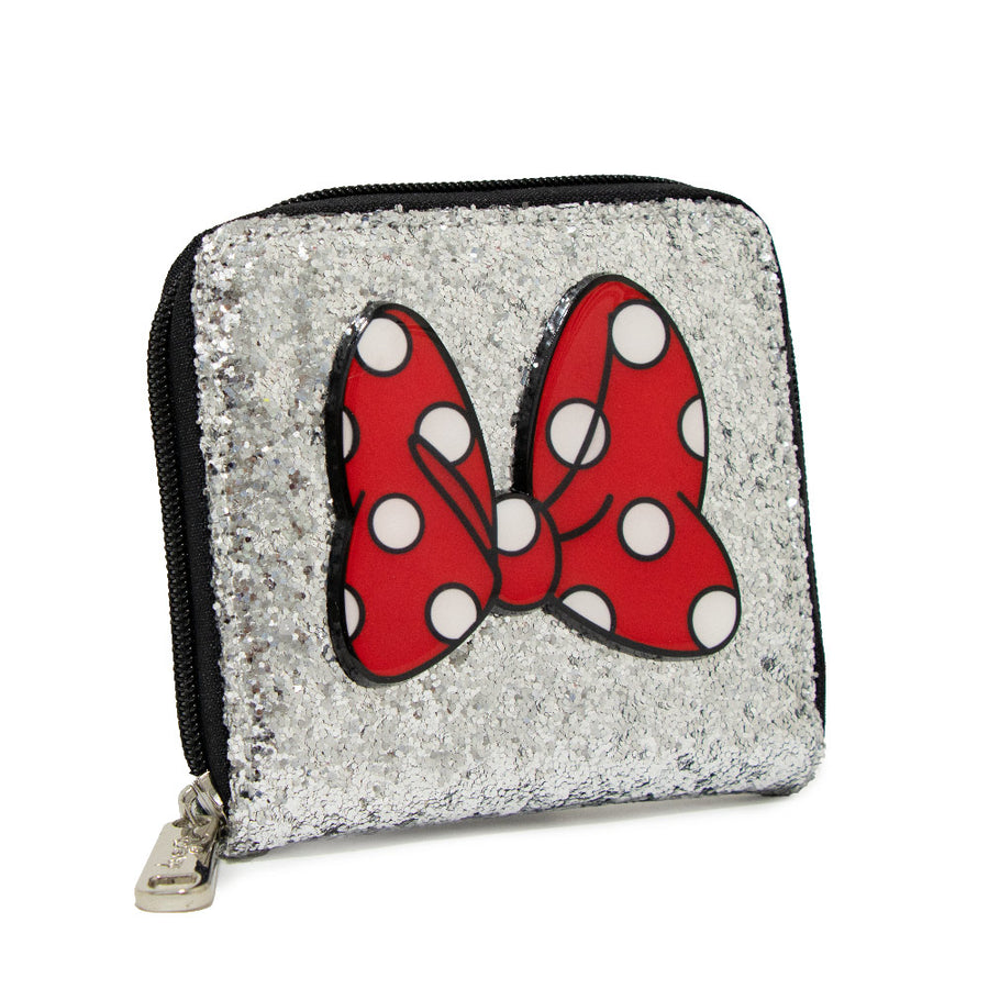 <b>Pre-Order Only </b><br>Women's Zip Around Wallet Square - Minnie Mouse Bow + Script Silver Glitter Sparkle