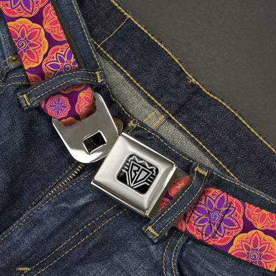BD Wings Logo CLOSE-UP Full Color Black Silver Seatbelt Belt - Boho Mandala Purples/Oranges/Pinks Webbing