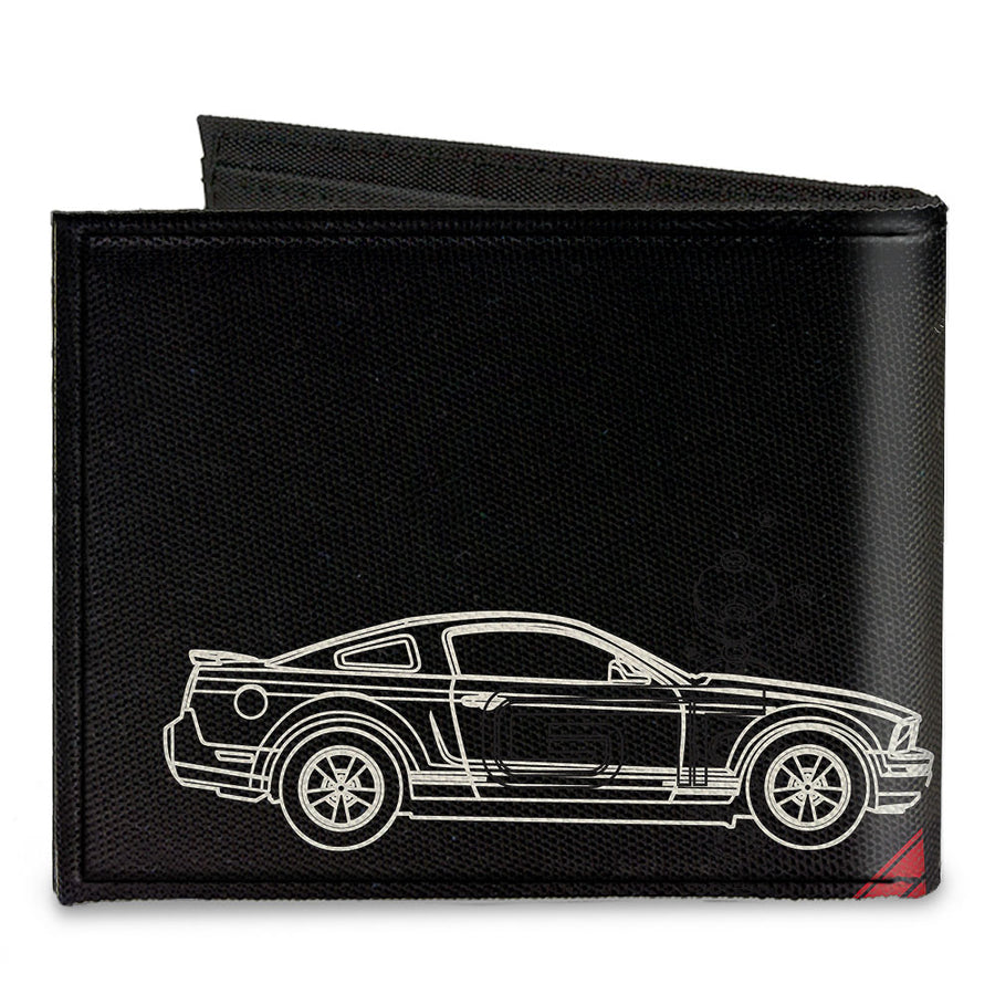 Canvas Bi-Fold Wallet - Mustang Tri-Bar Logo Diagonal Stripe Blueprint Black Red White Blue