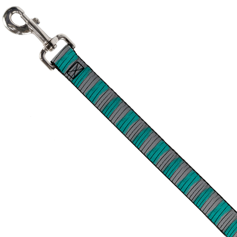 Dog Leash - Cheshire Cat Stripes Gray/Teal/Black
