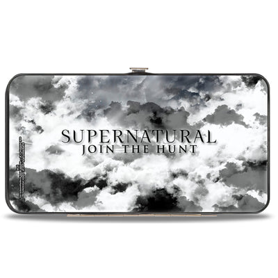 Hinged Wallet - Supernatural 4-Character Collage + Logo Clouds Grays Sepia