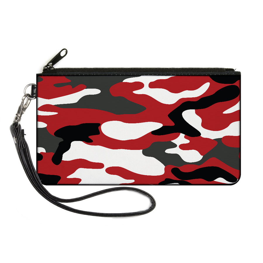 Canvas Zipper Wallet - LARGE - Camo Red Black Gray White