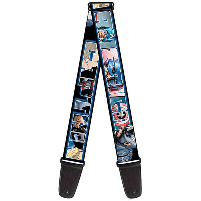MARVEL UNIVERSE Guitar Strap - CAPTAIN AMERICA Poses Bold Text Outline Overlay