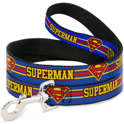 Dog Leash - SUPERMAN/Shield Stripe Blue/Yellow/Red