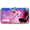 MARVEL DEADPOOL Hinged Wallet - Deadpool on Unicorn HERE COMES DEADPOOL + Tutu Deadpool Galaxy Blues Pinks White