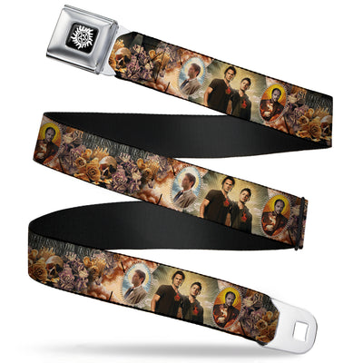 Winchester Logo Full Color Black White Seatbelt Belt - SUPERNATURAL 4-Character Saintly Icons/Skull & Roses Webbing