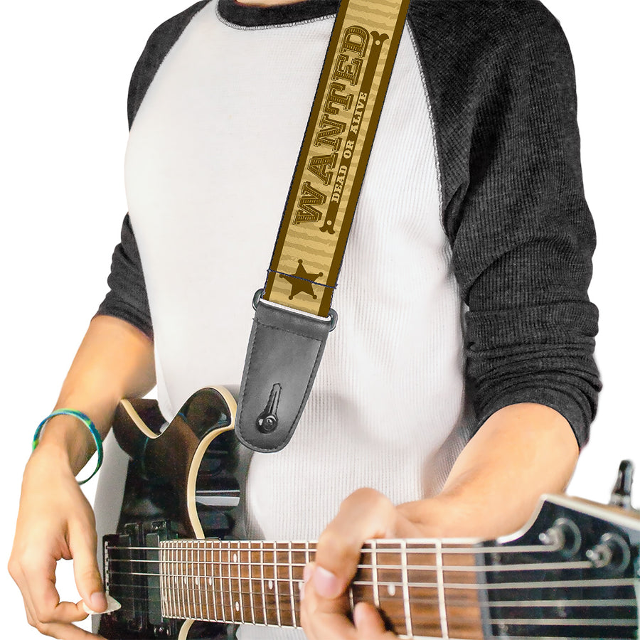 Guitar Strap - WANTED-DEAD OR ALIVE Star Tans