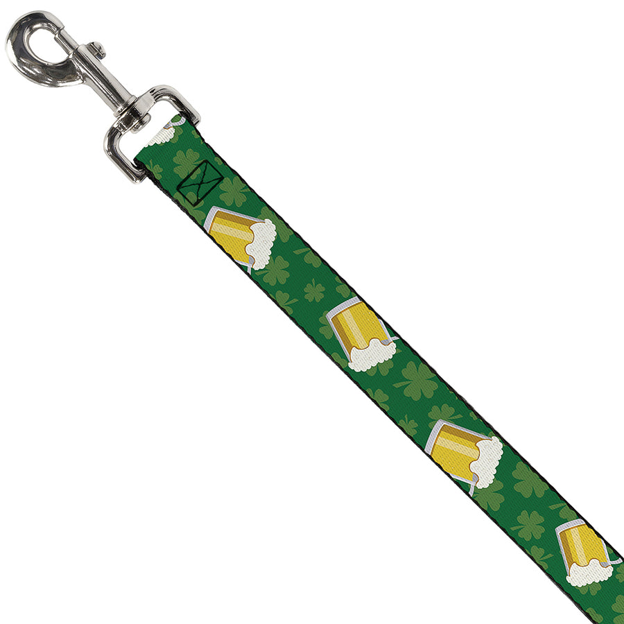Dog Leash - St. Pat's Clovers/Beer Mugs Greens
