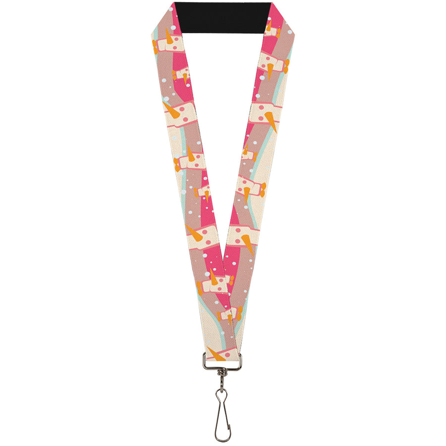 "Lanyard - 1.0"" - Block Penguins Mauve"