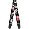 Guitar Strap - Nightmare Before Christmas 4-Mini Character Poses Black Gray