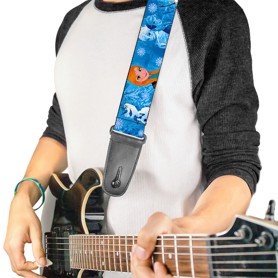 Guitar Strap - Frozen Character Poses Blues