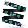 Toy Story Rex Smiling Pose Full Color Black Seatbelt Belt - Toy Story REX Smiling Pose/Face Halftone Black/Blue/Green Webbing