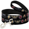 Dog Leash - Justice League 2017 6-Superhero Icons Black