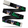Chrome Buckle Web Belt - The Riddler w/Batman Silhouette Webbing