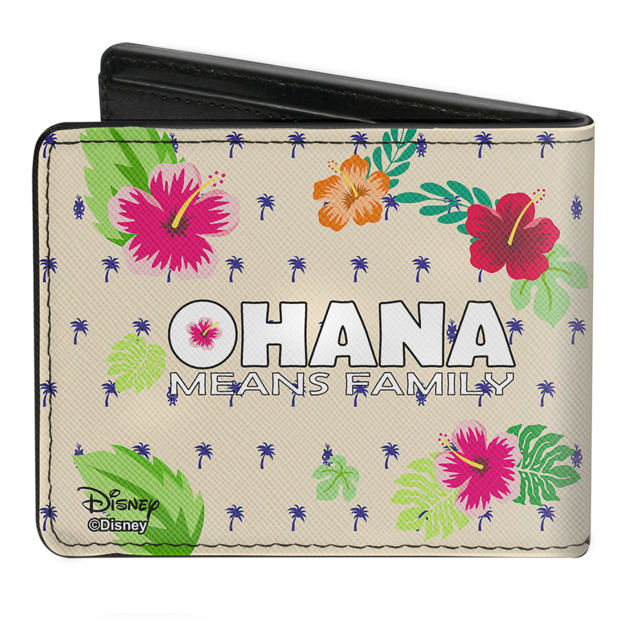 Bi-Fold Wallet - Stitch Winking Pose + OHANA MEANS FAMILY Tropical Icons Flora Cream Blue Multi Color