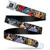 DC Round Logo Black/Silver Seatbelt Belt - DC Originals Vintage Comic Portraits/Comic Scenes Webbing
