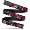 Black Buckle Web Belt - Harley Quinn Poses/HAHAHA!/Diamonds/Hearts Halftone White/Black/Red Webbing
