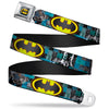 Bat Shield Glow Checkers Full Color Blues Grays Gold Black Seatbelt Belt - Batman Detective Comics 2-Poses/Bat Signal Checker Blues/Grays/Yellow/Black Webbing