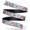 The Little Mermaid Flower Full Color Purples/Black Seatbelt Belt - The Little Mermaid Ariel Sketch4 Pose/Shells/Kelp Blues/Pinks Webbing