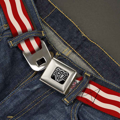 BD Wings Logo CLOSE-UP Full Color Black Silver Seatbelt Belt - Bacon Stripe Webbing