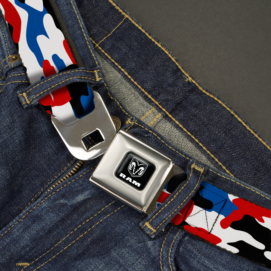 RAM Logo Full Color Black/White Seatbelt Belt - Ram Americana Camo Red/White/Blue/Black Webbing